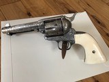 Colt SAA .45 Single Action Army 4 3/4 3rd Gen Cattlebrand Engraved and Silver plated with Ivory Grips 4.75 - 2 of 15