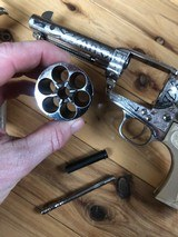 EMF Uberti Nickel cattle brand engraved 45 Colt Single Action SAA consecutive pair 4 3/4 - 13 of 15