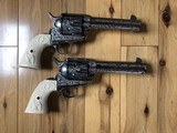 EMF Uberti Nickel cattle brand engraved 45 Colt Single Action SAA consecutive pair 4 3/4 - 2 of 15