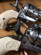 EMF Uberti Nickel cattle brand engraved 45 Colt Single Action SAA consecutive pair 4 3/4 - 8 of 15