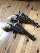 EMF Uberti Nickel cattle brand engraved 45 Colt Single Action SAA consecutive pair 4 3/4 - 7 of 15