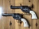 EMF Uberti Nickel cattle brand engraved 45 Colt Single Action SAA consecutive pair 4 3/4 - 3 of 15