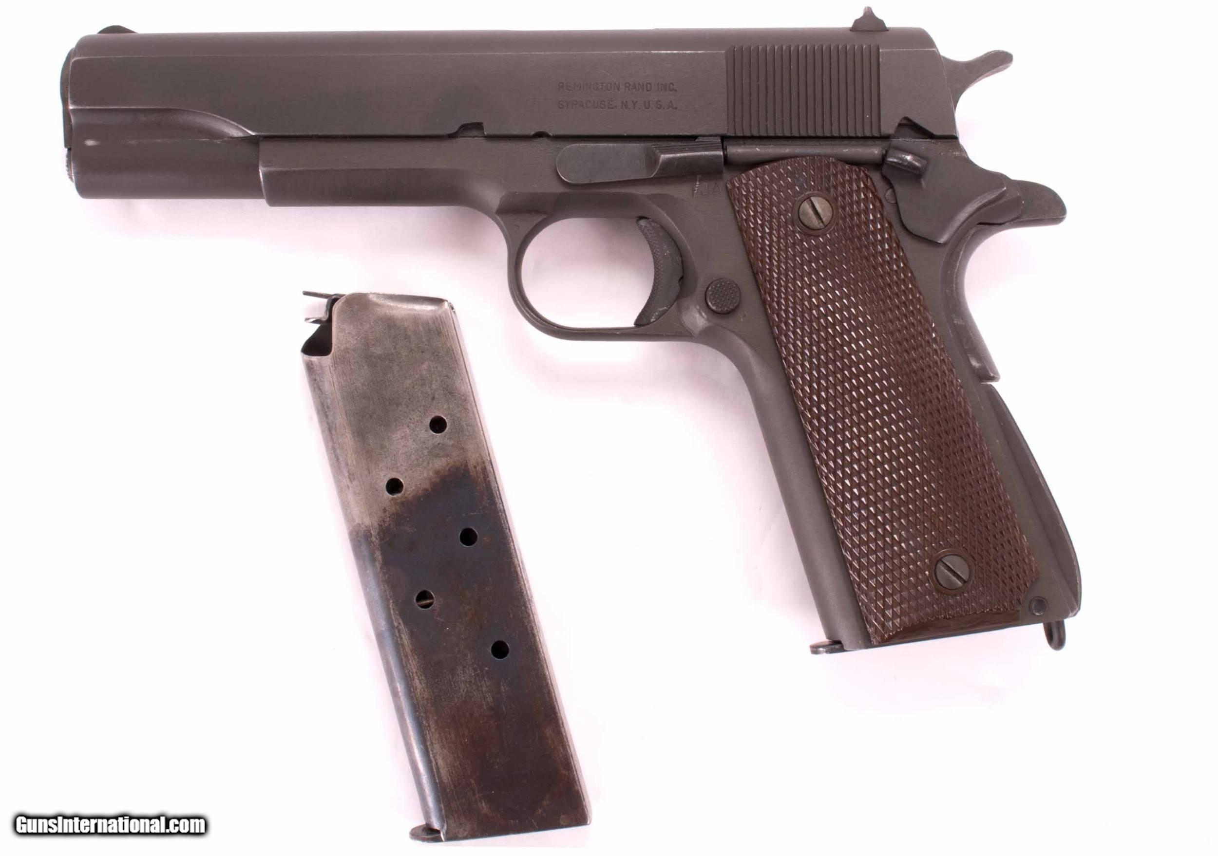 Remington Rand 1911A1  45 ACP – U S  ARMY, 97%, 1943, ALL ORIGINAL