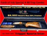 Krieghoff K-80 Trap Combo (O/U (32) + UNS (34)), Tapered Step Rib w/8 Titanium Chokes w/Adjustable Comb & New Americase Adjustable Unsingle