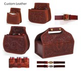 Custom Made Leather Shotshell Pouches/Belts for Skeet, Trap, Sporting Clays, Five Stand Chisled and Initialed