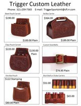 Custom Made Leather Shotshell Pouches/Belts for Skeet, Trap, Sporting Clays, Five Stand Chisled and Initialed - 2 of 9