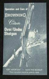 Operation and Care of Browning Citori Shotgun Reprint