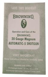 Op & Care of the Browning 20 Ga Magnum Automatic 5 Shotgun - 1 of 1