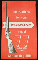 Winchester Model 77 Instructions - 1 of 1