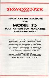 Winchester Model 75 Important Instructions - 1 of 1