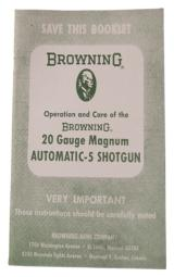 Operation and Care of the Browning 20 Gauge Magnum Automatic
