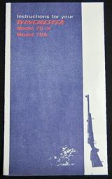 Winchester Model 70 or 70A Instructions Reprint - 1 of 1