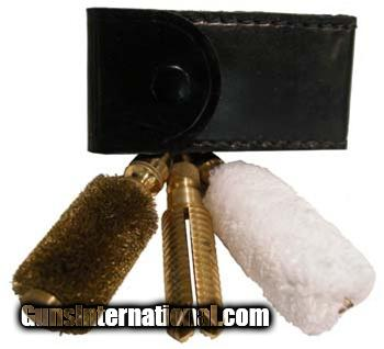 12 Gauge Cleaning Accessories in Dark Leather Pouch