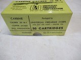 Full Box 50 rds Universal Firearms Corp. M-1 .30 Caliber Carbine Ammo - 2 of 5