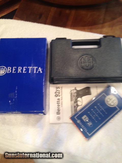 Beretta 92FS 9MM 3DOT LASER Grips, box & papers
