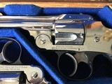 Smith & Wesson 38 Safety DA Hammerless Fine English Watson Brothers Retailed Cased Nickel Pair of Revolvers - 4 of 12
