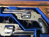 Smith & Wesson 38 Safety DA Hammerless Fine English Watson Brothers Retailed Cased Nickel Pair of Revolvers - 3 of 12