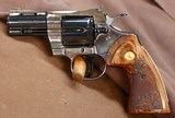COLT=PINTO PYTHON=THREE (3) INCH = CUSTOM MADE=.357=NICKEL & BLUE=COSTOM GRIPS = NEVER TURNED, NEVER FIRED