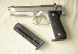 Bereta 9mm, model 92FS, Stainless Steel Satin-Finish,