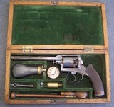 Cased, Engraved, Adams style Austrian Percussion Revolver