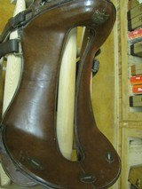 6902 McClellan Calvary Saddle WORLD WAR I,excellent condition, 12 inch model,leather top and under side in excellent condition, so are the stirrups an - 2 of 10