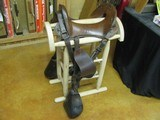 6902 McClellan Calvary Saddle WORLD WAR I,excellent condition, 12 inch model,leather top and under side in excellent condition, so are the stirrups an