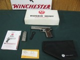 6955 Ruger S R 1911 45 ACP,NEW IN BOX, stainless steel, 1 mag,UNFIRED,all papers, correct serialized box, wood grips, 3 dot white sites,from private c - 1 of 10