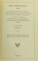 """Book: ""Abridgment Message and Documents 1915, Vol. 1 and Vol. 2"" (BK387)"" - 2 of 4"