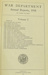 """""""Book: """"War Department Annual Reports 1918"""" (BK389)"""" - 1 of 4"""