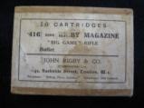 An Unopened box of 10 Cartridges for .416 Bore Rigby Magazine,
