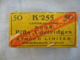 50 Kynoch Rook Rifle Cartridges In .225 C. F., Two Piece Box