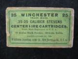 Winchester .25 - 25 Caliber Stevens Center Fire Cartridges, Factory Sealed, 25 Rounds