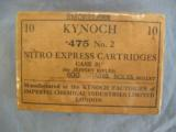 Kynoch .475 No. 2 For The Jeffery Rifle, 10 Nitro Express Cartridges