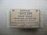 Kynoch .297/.250 Rook Rifle Cartridges, 56 Grs. Hollow Bullet, Two Piece box