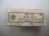 Kynoch .297/.250 Rook Rifle Cartridges, 56 Grs. Hollow Bullet, Two Piece box - 2 of 4