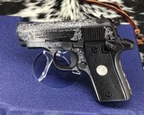 colt series 80 mk iv mustang .380 acp, hand engraved, boxed