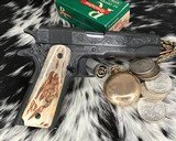 """Colt Government Model, .38 Super, Master Engraved by """"The Featherman"""" NIB - 23 of 25"""