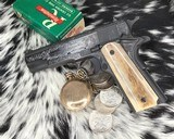 """Colt Government Model, .38 Super, Master Engraved by """"The Featherman"""" NIB - 10 of 25"""