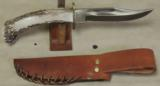 Custom Stag Handled Fighter Style Knife & Leather Sheath- 3 of 6