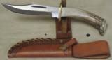 Custom Stag Handled Fighter Style Knife & Leather Sheath- 2 of 6