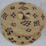 Antique Tohono O'odham Papago Indian Large Hanging Basket & Lid w/ Coyote Tracks