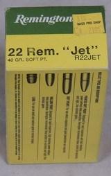 "Vintage Ammo *Remington .22 Rem. ""Jet"" 50 Rd. Box Ammo #R22JET"