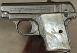 Colt Model 1908 Vest Pocket Hammerless .25 ACP Caliber Pistol *Nickel * Mother of Pear Grips *S/N 356624XX