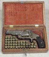 """Cased Smith & Wesson """"Baby Russian"""" 38 S&W Caliber DA Model 2 1st Model Top Break Revolver S/N 7897XX"""